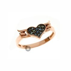 Ένα fashion δαχτυλίδι σε ροζ χρυσό Κ9 με καρδιά από μαύρα ζιργκόν και  φτερά. Αποστολή c91c86d15c4