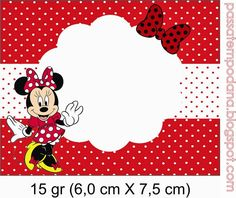 Minnie Red and White Polka Dots: Free Printable Invitations and Candy Bar Labels.