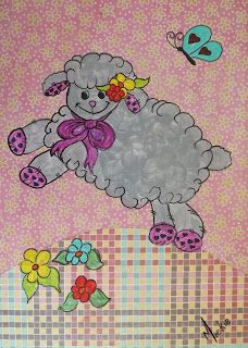 Acrylic Sheep on Decoupage Background Animal Drawings, Sheep, Decoupage, Arts And Crafts, Pretty, Artist, Blog, Painting, Animals