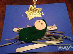 Preschool Craft: Make a Baby Jesus out of felt, glitter, popsicle sticks, & straw.  15 Holiday Crafts for Kids : The Chirping Moms
