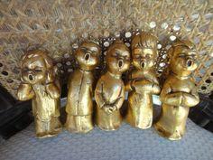 Singing Choir Angel Figurines Gold Choir Angels 5 pc set by MilliesAttique on Etsy