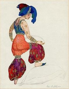 Leon Bakst. Costume of the Red Sultana. Sketch. The season of 1910. Scheherazade. Music by N. Rimski-Korsakov