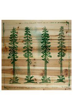 Adirondack Mountains Brown Distressed Wood Wall Art