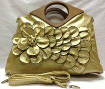 Designer Rare Handmade Raised Flower Purse Gold Metallic Finish Pouch Bag Offset Rose Handbag   Faux Leather Tote Chic 3D Flower   $33.90