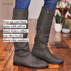 It's still boot season. Take your outfit to new heights with our Tall Flat Boot, which hits right below the knee. Pair it with skinny jeans, leggings or a midi skirt for a look that's equal parts comfy and chic. Avon Products, Chi Hair Products, Beauty Products, Step Up, Boss Babe, Beauty And More, Tennessee, Avon Fashion, Hair Essentials