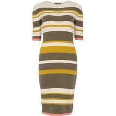 Dorothy Perkins Oat & Khaki Stripe Midi Dress (€24) ❤ liked on Polyvore featuring dresses, beige, beige dress, brown dress, cotton dress, stripe midi dress and dorothy perkins