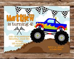 Hey, I found this really awesome Etsy listing at https://www.etsy.com/listing/122974808/printable-monster-truck-birthday-party