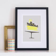 A tasty mid century style lemon meringue pie print.  This lovely print is the…