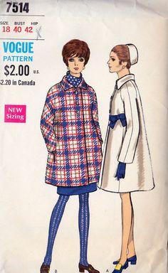 1960 Misses Full Coat Vintage Sewing Pattern by MissBettysAttic, $16.00