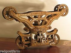 Antique Cast Iron F E Myers & Bro Co Clover Leaf Hay Trolley Pulley