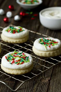 Sour Cream Cut Out Cookies make a sweet addition to your holiday cookie tray. You've got to try them, and their amazing frosting! from @bakingaddiction