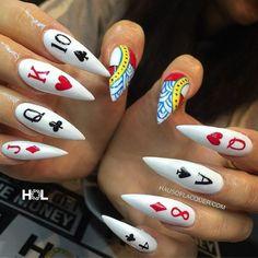 Poker stiletto nails