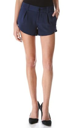 Navy silk shorts (cute with tights come fall!).