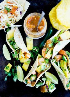 Shrimp Pineapple Chili Salsa Tacos: Fresh summer flavors and a kick to shrimps!