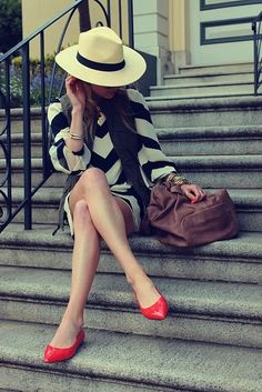 Black and white stripes + red shoes = lovely
