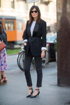 Ciao, Milano! Italian Street Style: Emmanuelle Alt in einem Blazer von Isabel Marant für H&M