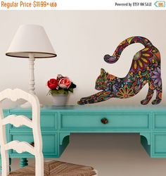 ON SALE Stretching Cat Wall Sticker - Repositionable Floral Cat Wall Decal