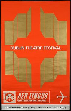 Aer Lingus - Dublin Theatre Festival - 1965 - International Airlines, On October 3rd, Festival Posters, Dublin, Vintage Posters, Dates, Theatre, Irish, Drama