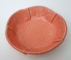 Small Pastel Sunset Textured Circle Handmade Ceramic Pottery Serving Bowl