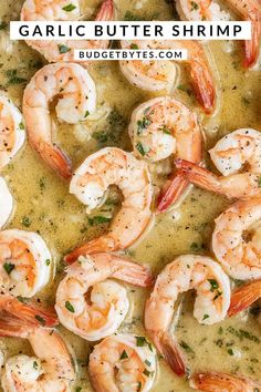 This super quick Garlic Butter Shrimp is a great à la carte protein that can be added to just about any meal! Budgetbytes.com Garlic Butter Shrimp, Entree Recipes, Entrees, Budgeting, Bring It On, Cards, Garlic Butter Prawns, Antipasto Recipes, Appetizers