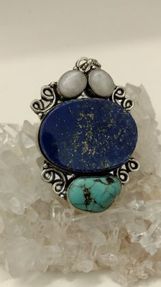 Lapis, Turquoise and Moonstone Pendant Necklace by KarinsForgottenTreas on Etsy