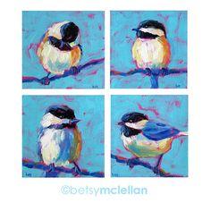 Chickadee Bird Grouping - Bird Art - Giclee Print