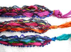 Sari yarn and sari ribbon wrist bracelets or headbands!