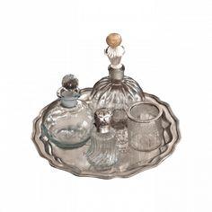Vintage Glass & Silver Tray Set