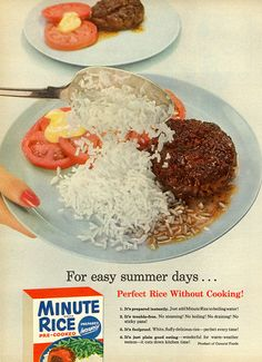 1955 Minute Rice Ad= A Simple and light dinner