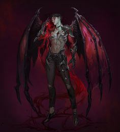 Beautiful Science Fiction, Fantasy and Horror art from all over the world. Dark Fantasy Art, Fantasy Male, Fantasy Kunst, Fantasy Warrior, Fantasy Artwork, Warrior Angel, Anime Demon Boy, Dark Anime Guys, Fantasy Character Design