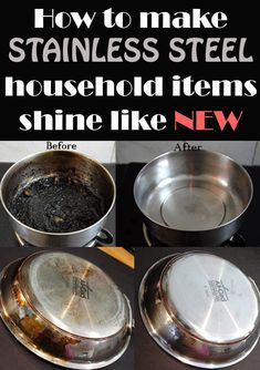 how to clean stainless steel pots and pans stains on and green. Black Bedroom Furniture Sets. Home Design Ideas