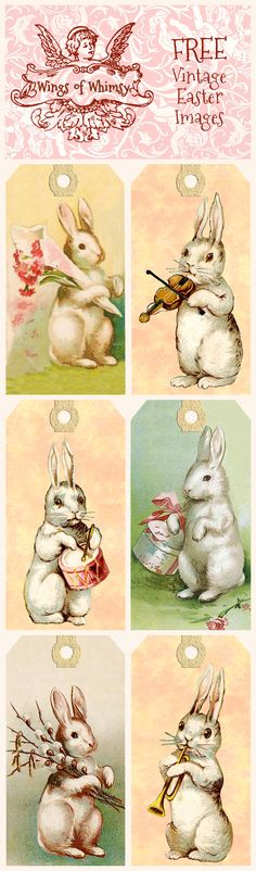 Etiquetas retro conejos de Pascua - FREE Vintage Easter Bunnies Tags | Wings of Whimsy
