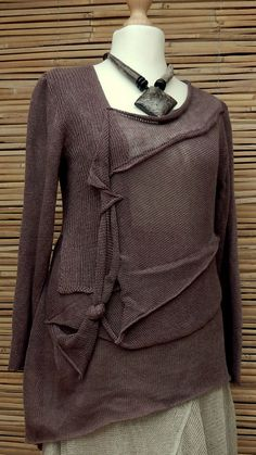 ZUZA BART*DESIGN EXCLUSIVE BEAUTIFUL LAYERING LINEN LONG JUMPER*BROWN*Size M-L