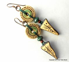 Beautiful tribal-influenced artisan earrings, ceramic beads with gemstone.  By  Two Trees Studio.