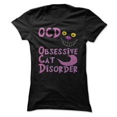 Cheshire Cat - Obsessive Cat Disorder T Shirt | Were All OCD Here - Funny Alice in Wonderland Tee Shirt For Those Who Are Crazy About Cats! | Buy A Tee Shirt or Hooded Top at http://shirtminion.com/cheshireocd
