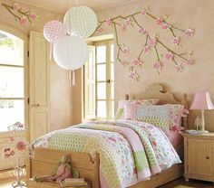 Have design painted on wall.  Cherry blossom and Japanese Lanterns are a nice combination.  Perfect for pink accents.