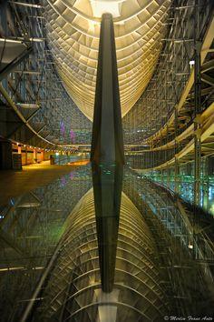 Reflection, Tokyo International Forum at night, Japan
