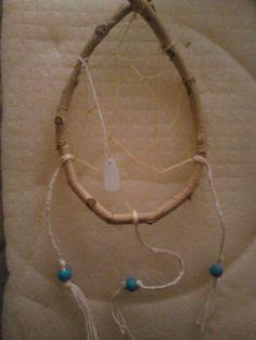 Cream braided wood hoop dream catcher