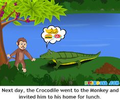 The Crocodile and The Monkey Moral Story with Pictures for Kids in English. English Stories For Kids, English Worksheets For Kids, Short Stories For Kids, English Story, Children Stories, Republic Day Speech, Picture Story For Kids, Easy Cartoon Drawings, Animal Crafts For Kids