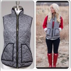 ⭐️LAST ONE!⭐️NWT Tweed Herringbone Puffer Vest NWT Tweed Herringbone Puffer Vest. This medium-weight quilted stitch vest features a trendy black and white herringbone print. 2 front pockets and brassy gold zipper down front. 100% cotton, fully lined. Available in Large (10-12)No Trades and No PaypalSold out of smalls, mediums Jackets & Coats Vests
