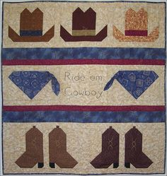 Free Patterns For Cowboy Quilt - Bing Images --- --- --- OMG I love this, how cute.  But I would add borders to the top and bottom to make it longer as I am not fond of square quilts.