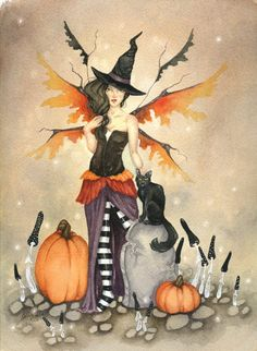 HALLOWEEN SALE - Fairy Art Print - 5x7 - Witch Faery - whimsical, halloween, pumpkin, black cat, fairy, illustration, october. $7.00, via Etsy.