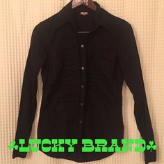 Lucky Brand Black Button Up Lightly worn twice!  Perfect condition!  Lucky Brand size medium.  No stains, holes or fading. Lucky Brand Tops Button Down Shirts