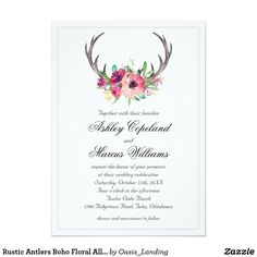 Rustic Antlers Boho Floral Allure Wedding Card - With enchanting rustic boho style, this wedding invitation design features deer horns beautifully embellished with watercolor florals in rich purple, magenta and pink hues. A thin silver lined border completes the design. Sold at Oasis_Landing on Zazzle.