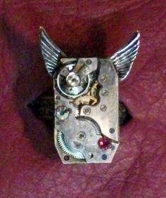 SALE Time Flies Watch Movement Swarovski Steampunk by AmandadeSade, $35.00