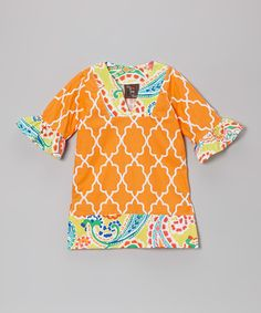 Take a look at this Orange Moroccan Tunic - Toddler & Girls by Haley and the Hound on #zulily today!