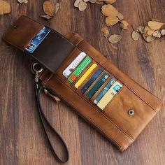 1db9a724b973 Handmade Mens Cool Long Leather Chain Wallet Cards Biker Trucker Wrist – iChainWallets  Leather Card Wallet