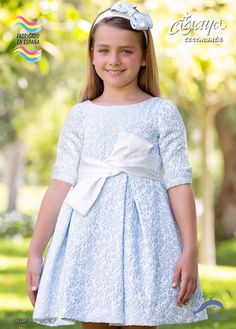 Vestido para niña de ceremonia ARTESANIA AMAYA manga francesa modelo 97747MF