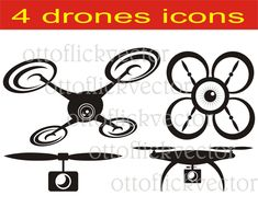 DRONE VECTOR CLIPART eps, ai, cdr, png, jpg, drones cuttable silhouettes, spy quadrocopter icons, drone photography, digital drone graphics by ottoflickvector on Etsy
