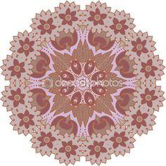 Растительный орнамент в круге — Стоковая иллюстрация #26142743